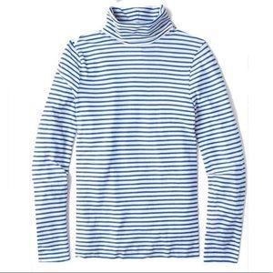 J. Crew Blue White Stripe Tissue Turtleneck
